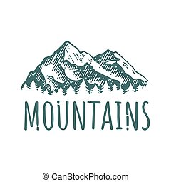 Mountain hand drawn retro logotype with lettering. Vector...