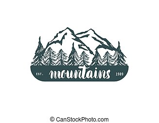 Mountain hand hrawn hogo. Vector design element in vintage style for logotype, label,tag, badge and other. Mountain logo, symbol, icon in retro style.