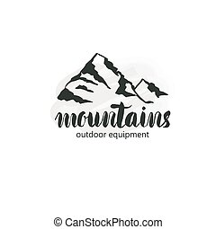 Mountain hand hrawn hogo. Vector design element in vintage style for logotype, label,tag, badge and other.  logo, symbol, icon in retro .