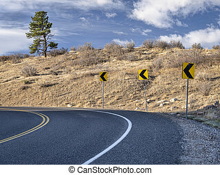 mountain highway at Colorado foothills