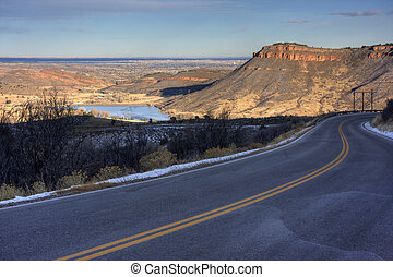 mountain highway at foothills of northern Colorado with a ...
