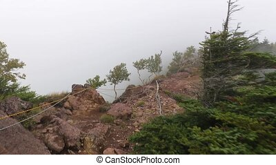 Mountain hike in mist and fog - Hiking in mountain mist...