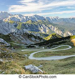 Mountain hiking pathway in Bavarian Alps