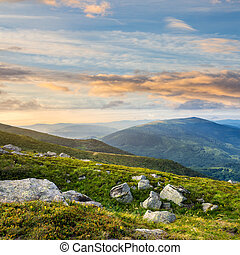 mountain hillside with white boulders - composite mountain...