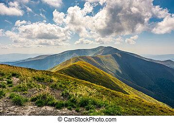mountain hillsides in late summer - grassy hillside of...