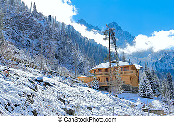mountain house in winter