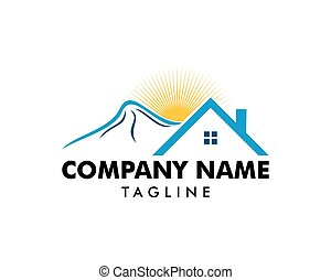 Mountain house logo icon vector template