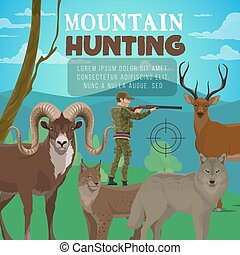 Mountain hunting, forest deer, wild animals hunter