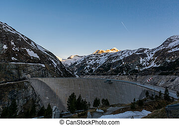 Mountain hydro dam in the morning.
