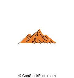 Mountain icon, doodle style