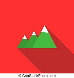 Mountain icon, flat style