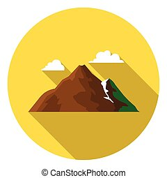 Mountain icon in flat style isolated on white background. Camping symbol stock vector illustration.