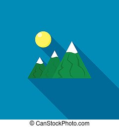 Mountain icon in flat style