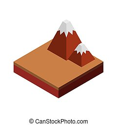 Mountain icon. Isometric design. Vector graphic
