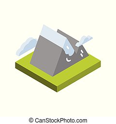 Mountain Icon Isometric Isolated Active Tourism And Travel...