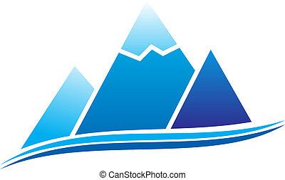 Mountain icon - Mountain with ice. illustration.