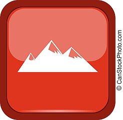 Mountain icon on a red button