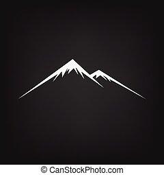 Mountain icon on black background , vector