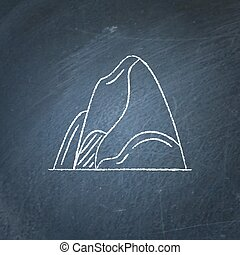 Mountain icon on chalkboard