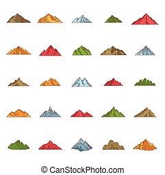 Mountain icon set, cartoon style