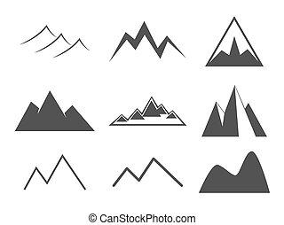 Mountain icons set. Line icon vintage silhouette collection....