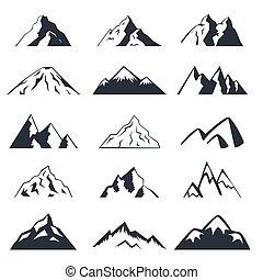 Mountain icons set on a white background.