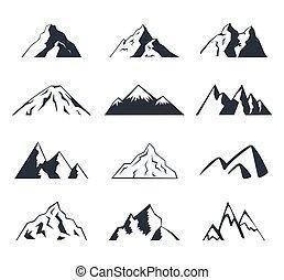 Mountain icons set on a white background. Logo.