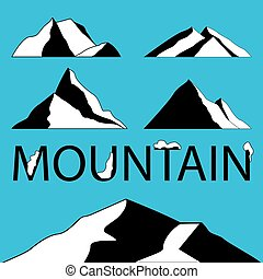 Mountain Icons Set on White Background. Vector