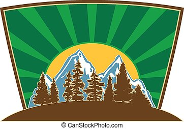 Mountain Illustration Vector - Mountain icon with pines...