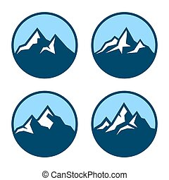 Mountain in Circle Logo Design Elements. Vector