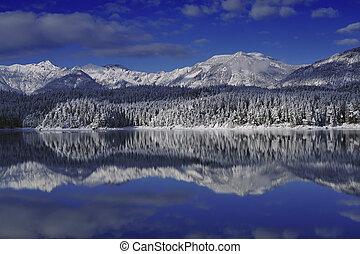 mountain in the lake