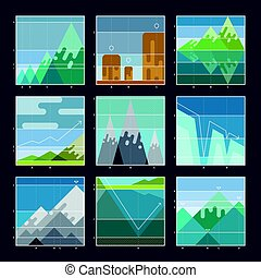 Mountain infographic diagrams and charts icons.