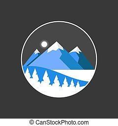 Mountain isolated vector illustration. Travel application icon.