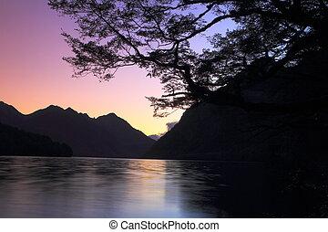 Mountain lake at dusk