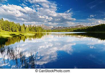 Mountain lake - Beautiful lake at sunset in Altai mountains