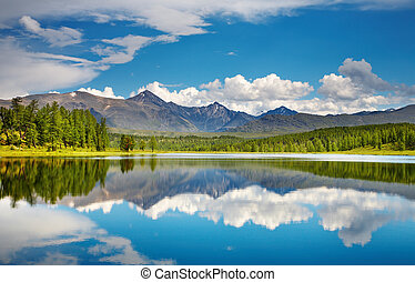 Mountain lake - Beautiful lake in Altai mountains