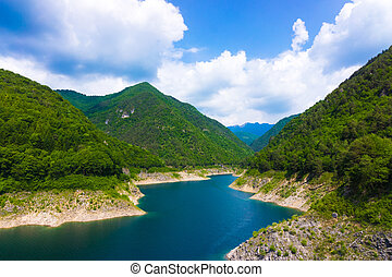 Mountain lake. Beautiful landscape with lake, forest and mounta