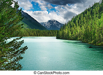 Beautiful turquoise lake in Altai mountains