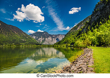 Mountain lake between by mountains, Austria, Alps