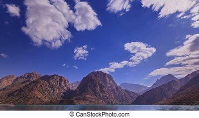 Mountain lake, clouds blurred. Zoom. Iskander-Kul. Time Lapse