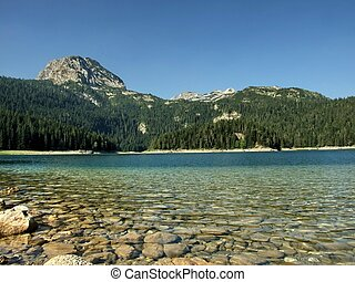 Mountain lake down perspective
