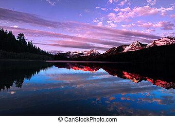 Mountain Lake - High mountain lake in the spring showing ...