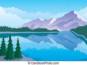 Mountain Lake - Illustrated landscape of mountain and lake. ...