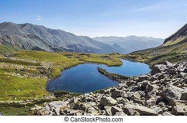 Mountain lake in alps