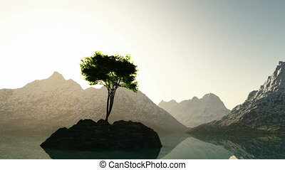 mountain lake in Alps with tree