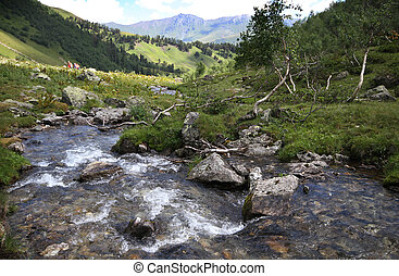 Mountain lake in Caucasus