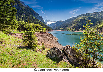 Mountain lake in Gosau at spring, Alps, Austria