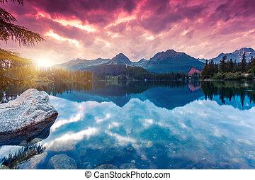 lake - Mountain lake in National Park High Tatra. Dramatic ...