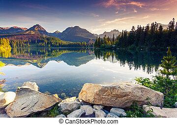 lake - Mountain lake in National Park High Tatra. Strbske...
