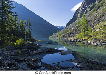 Mountain lake in the early sunny summer morning.